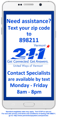 Text Vermont 211 Phone Web Ready
